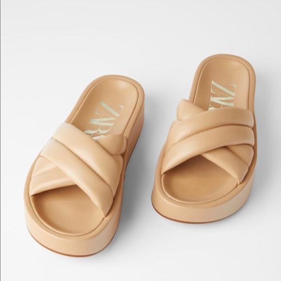 Zara Quilted Platform Leather Sandals